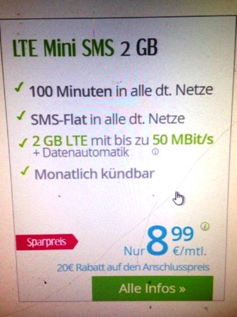 Tarif LTE Mini SMS 2 GB