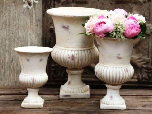 eBay Home & Garden, Shabby Chic Antique Amphore Pokal Blumenkübel wetterfest weiß Pflanzkübel