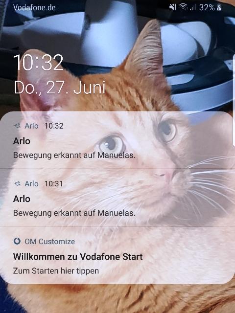 Arlo Go, App von Netgear, Benachrichtigung